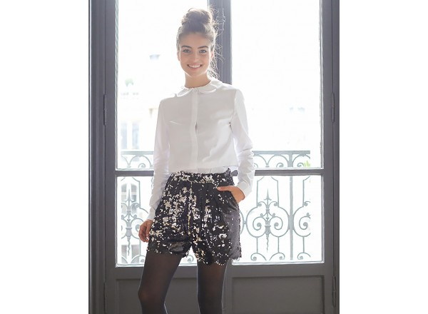 Black and Grey Bacchus Sequined Shorts