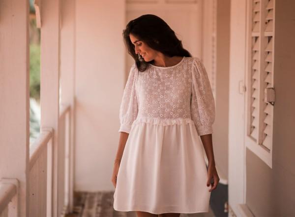 Robe Ernestine blanche bimatière
