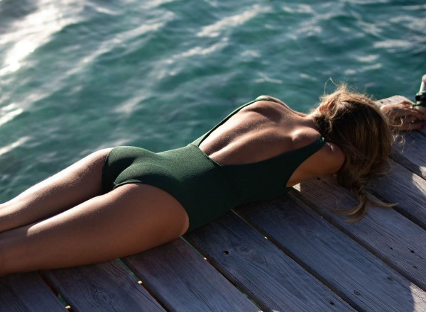 Green Domitille one-piece swimsuit
