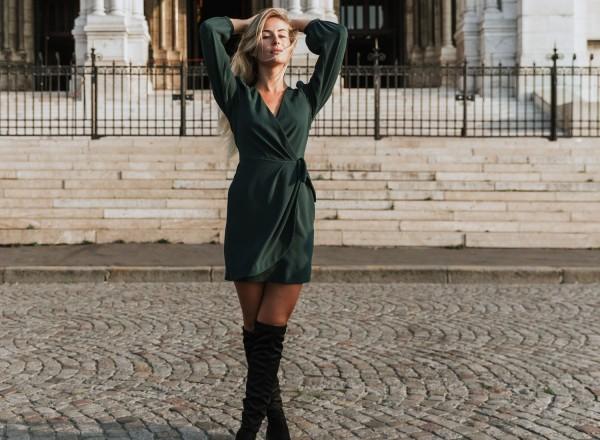 Mazarine dress in pine green
