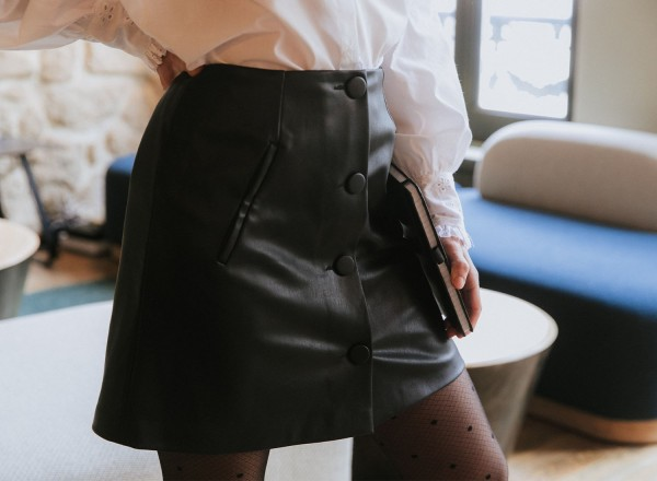 Simone fake leather skirt