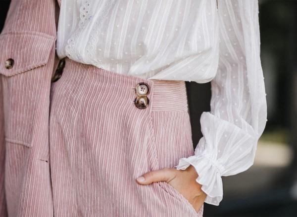 Short Gaspard en velours rose