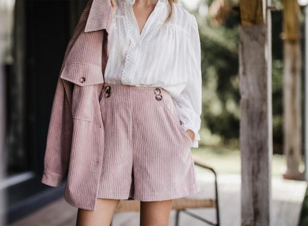 Pink velvet Gaspard shorts