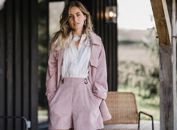 Pink velvet Gaspard overshirt
