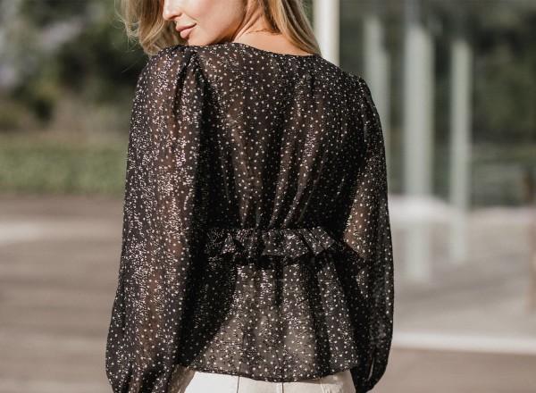 Katia black blouse with lurex dots