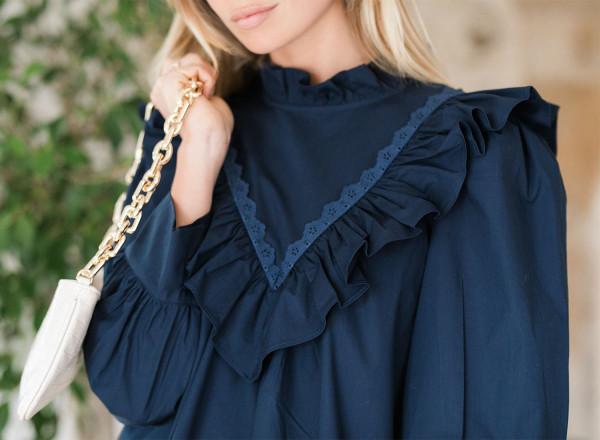 Emeline dress in plain navy blue